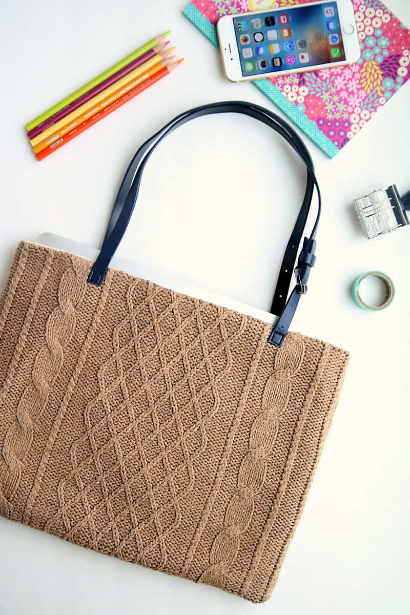 DIY sweater laptop tote