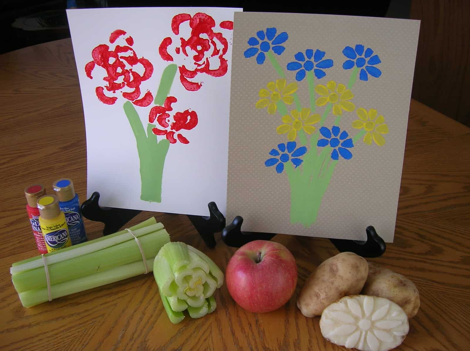 Do paint stamping art with vegetables