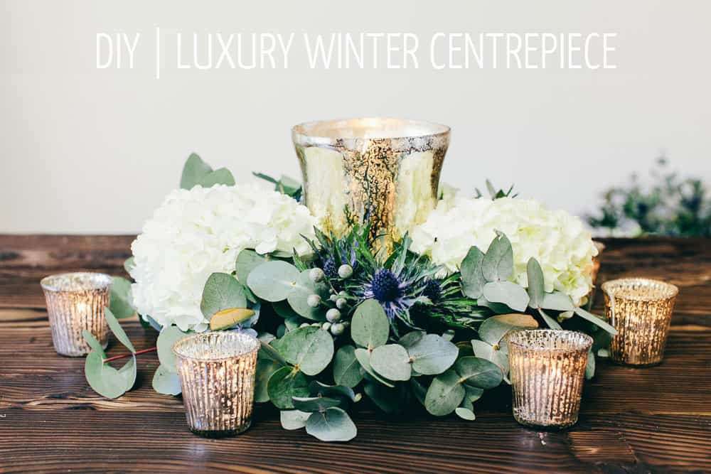 Floral and silver mercury effect centrepiece
