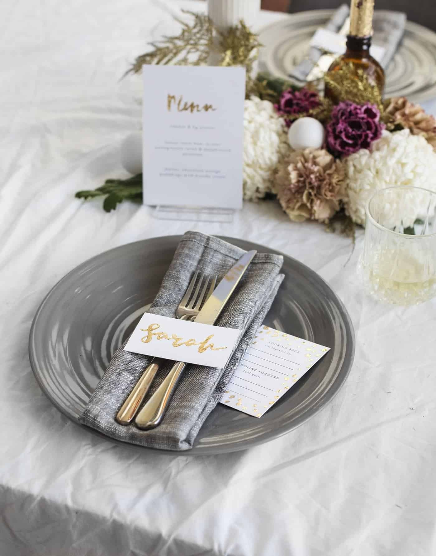 Glitter embossed NYE dinner menus and place cards