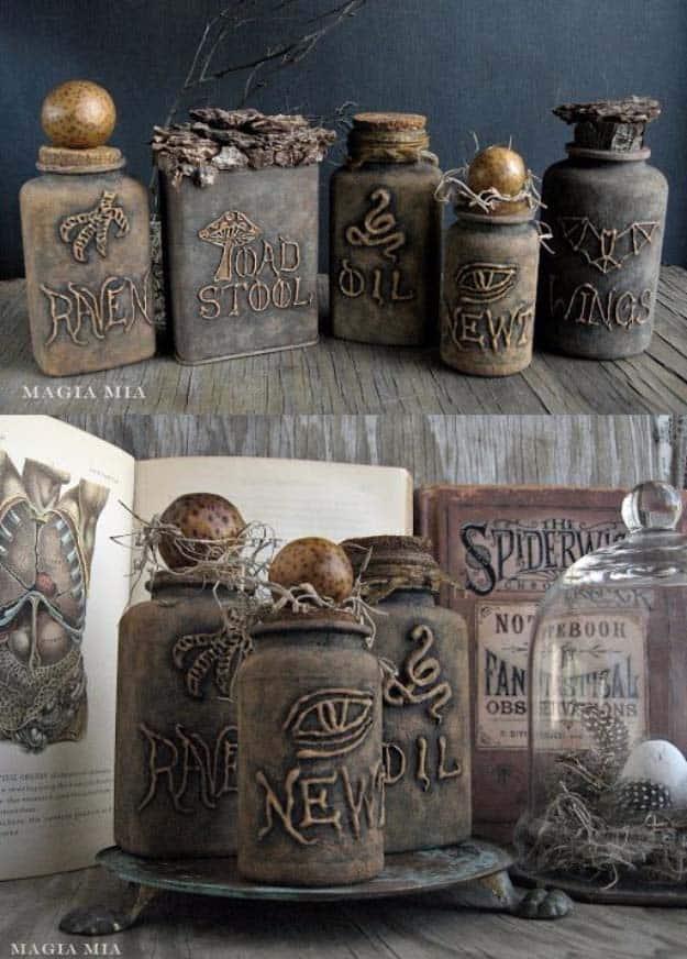 Glue gun and chalk paint witchcraft bottles