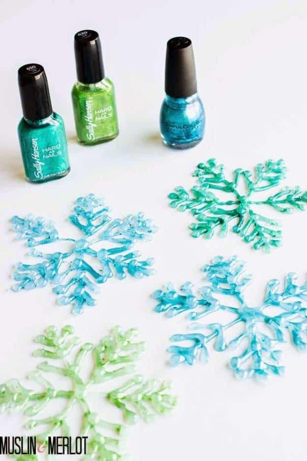 Glue gun and nailpolish snowflakes