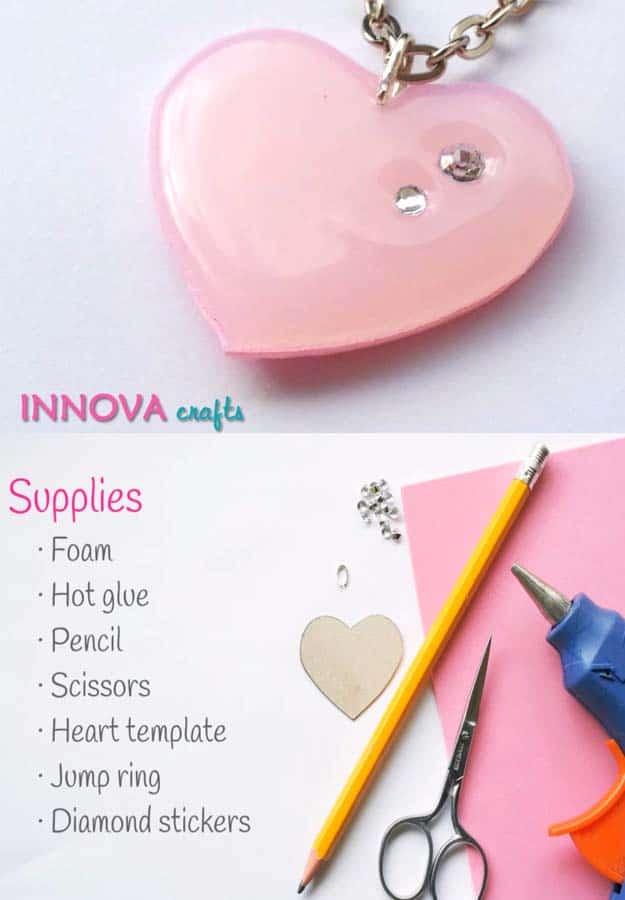 Glue heart pendant with rhinestones