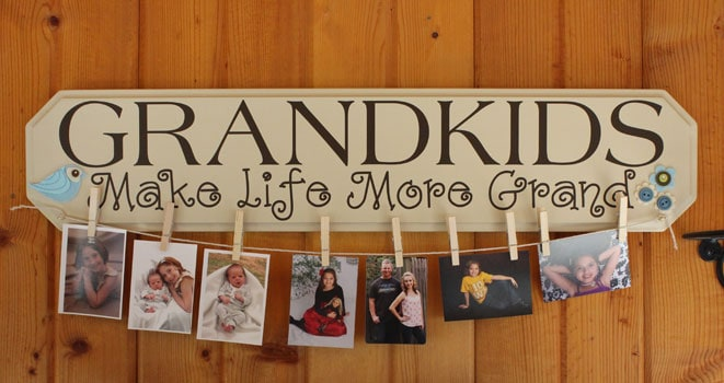 Grandkids clothespin photo hanger