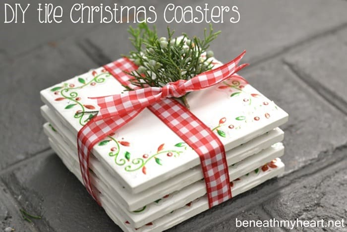 Hand painted tile Christmas coasters