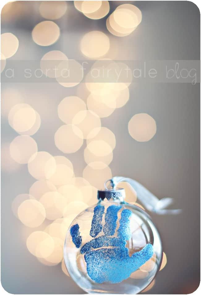 Handprint glass ball ornament