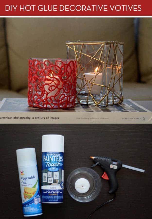 Hot glue candle votives