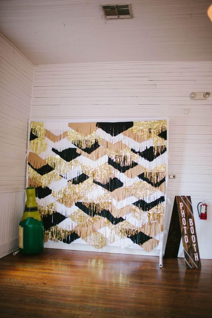 Layered fringe scale shaped backdrop
