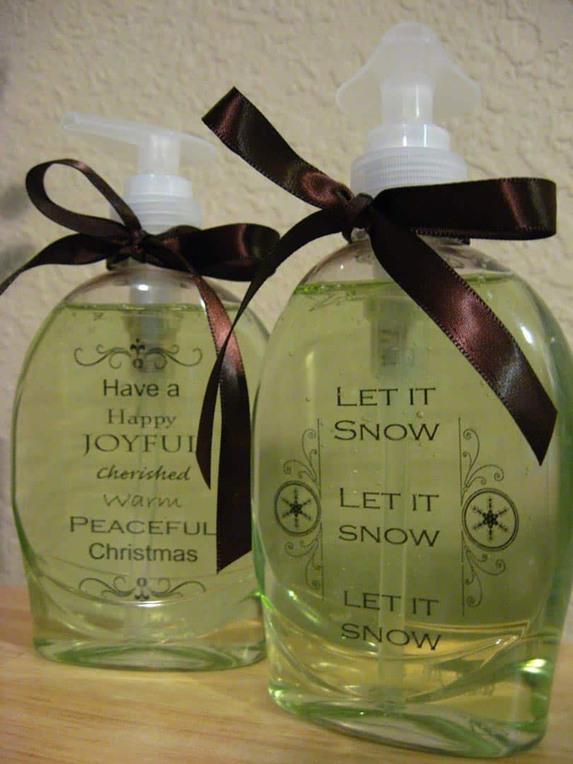 Personalized holiday hand soap