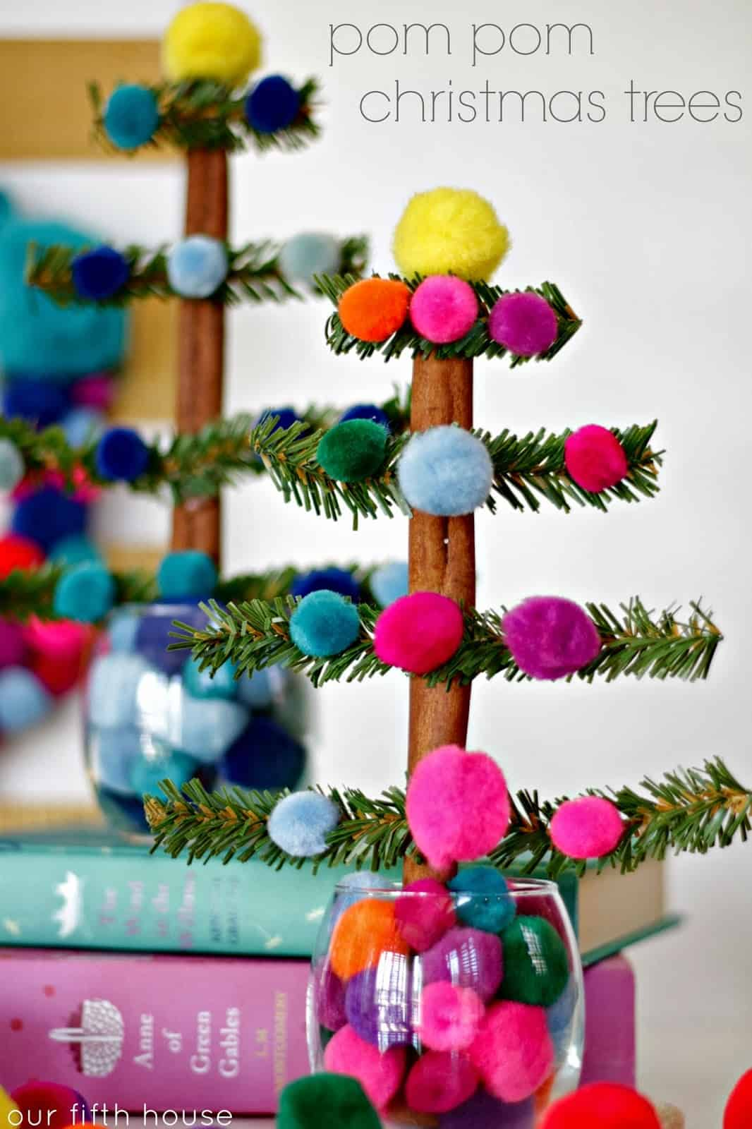 Pom pom and branch tree craft