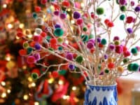 Pom pom branch centrepiece 200x150 Colorful Bliss: Christmas Craft Ideas Made With Pom Poms