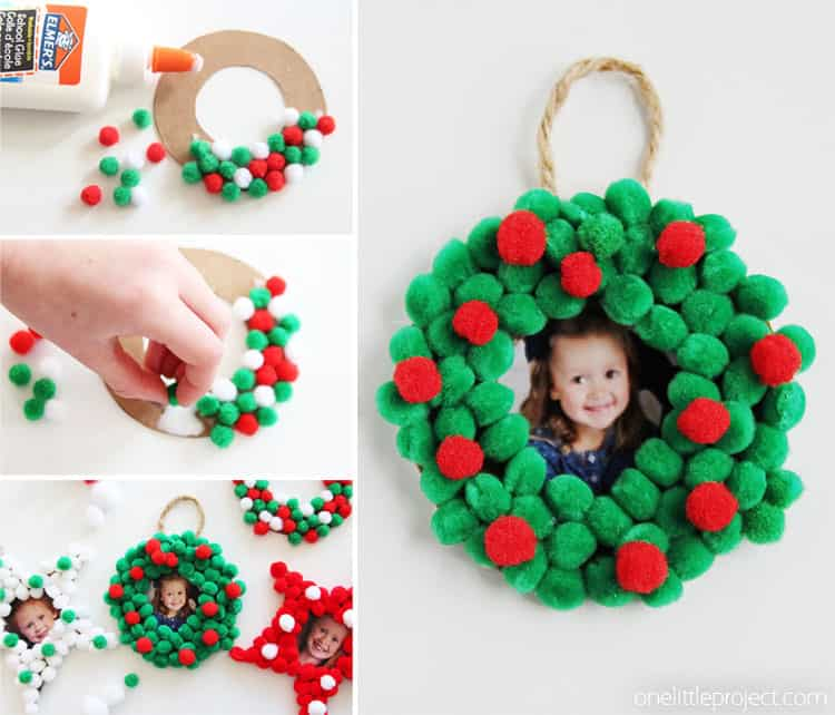 Pom pom photo wreath