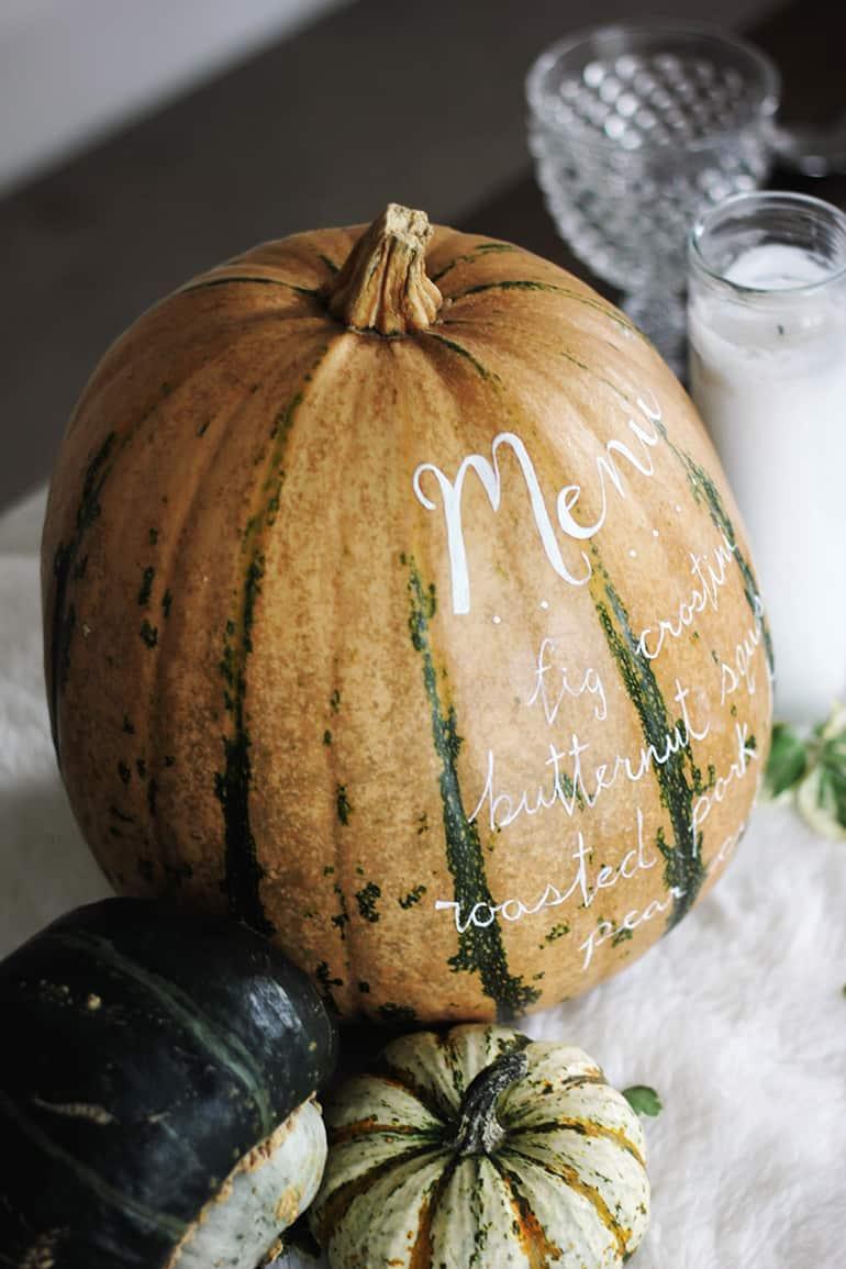 Pumpkin painted menu
