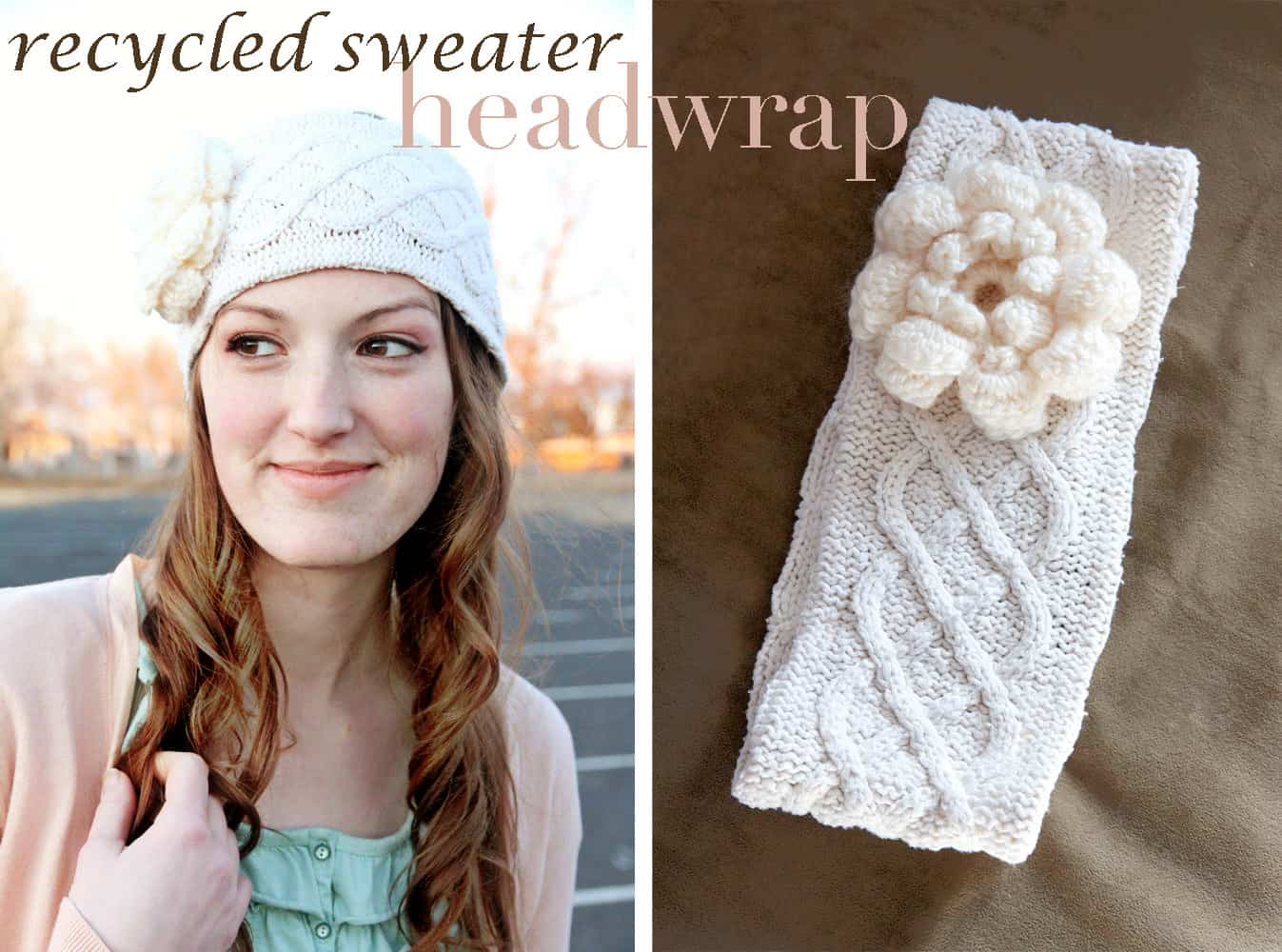 Recycled sweater head wrap