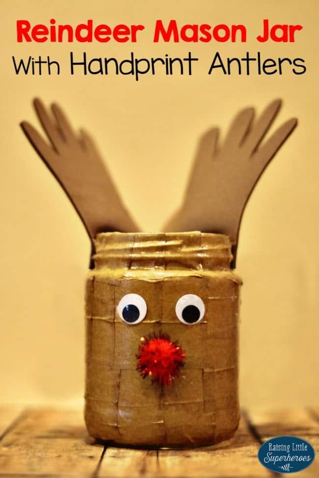 Reindeer mason jar with handprnt antlers