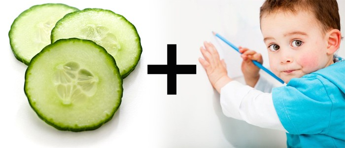 Remove marks from walls using cucumber slices
