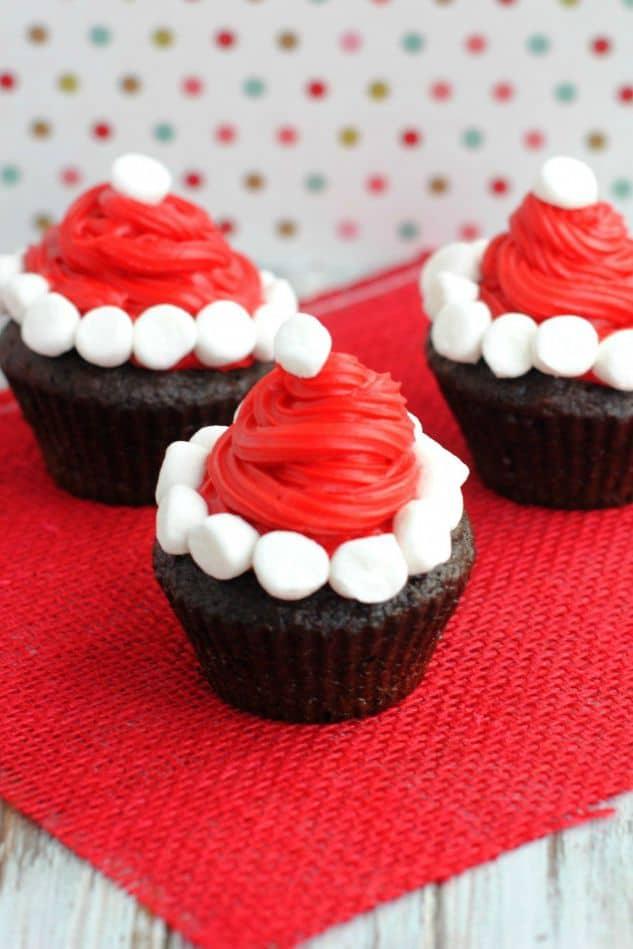 Santa hat cupcakes with marshmallows
