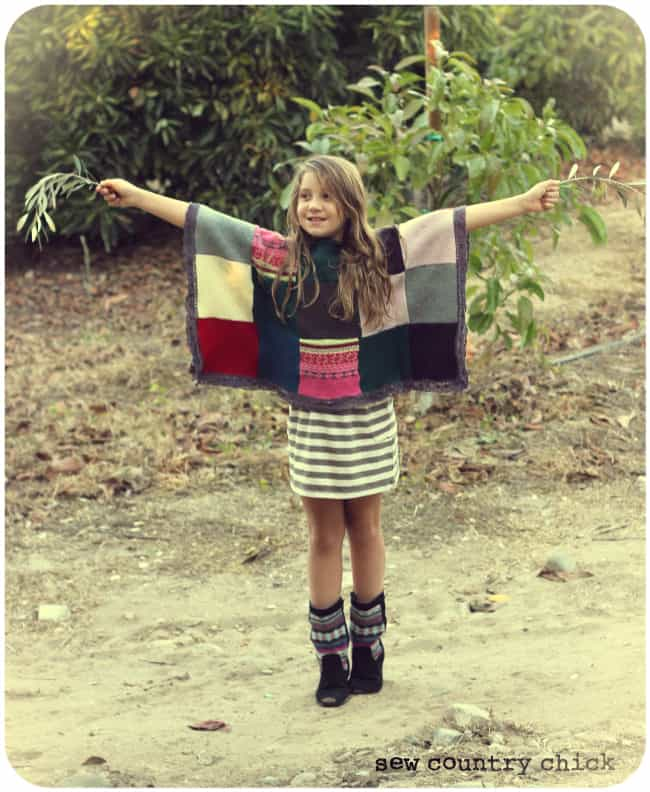 Sweater patchwork poncho