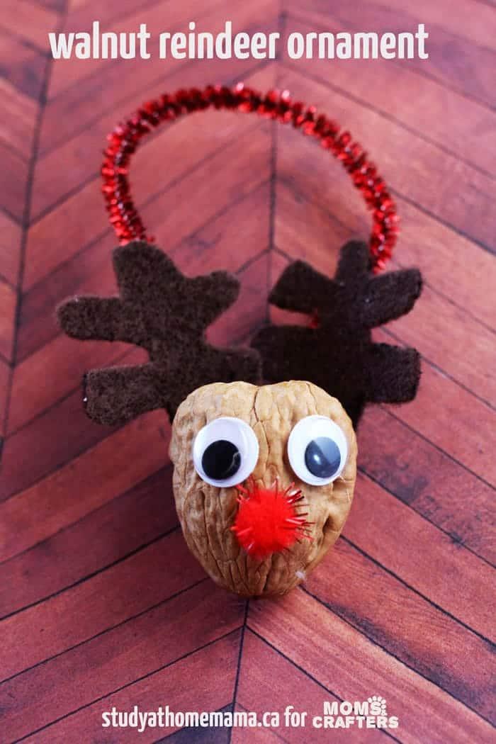 Walnut reindeer ornament