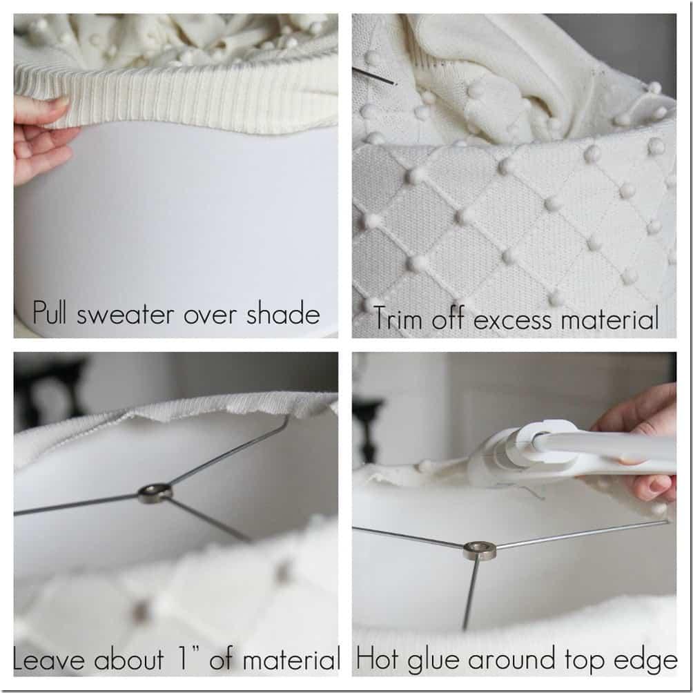 Wintery white sweater lampshade