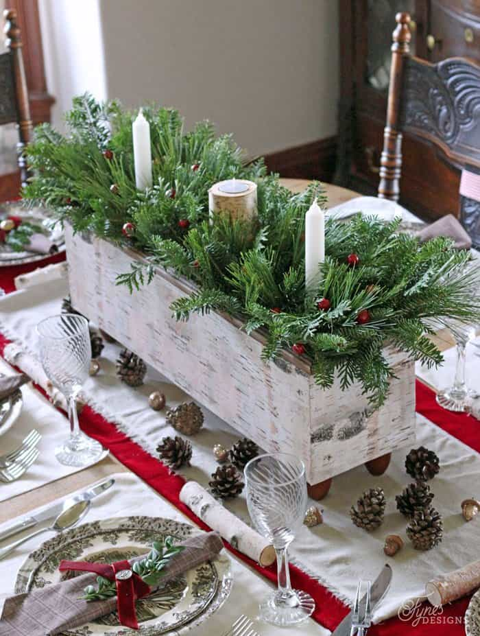 Wooden box and branch centrepiece