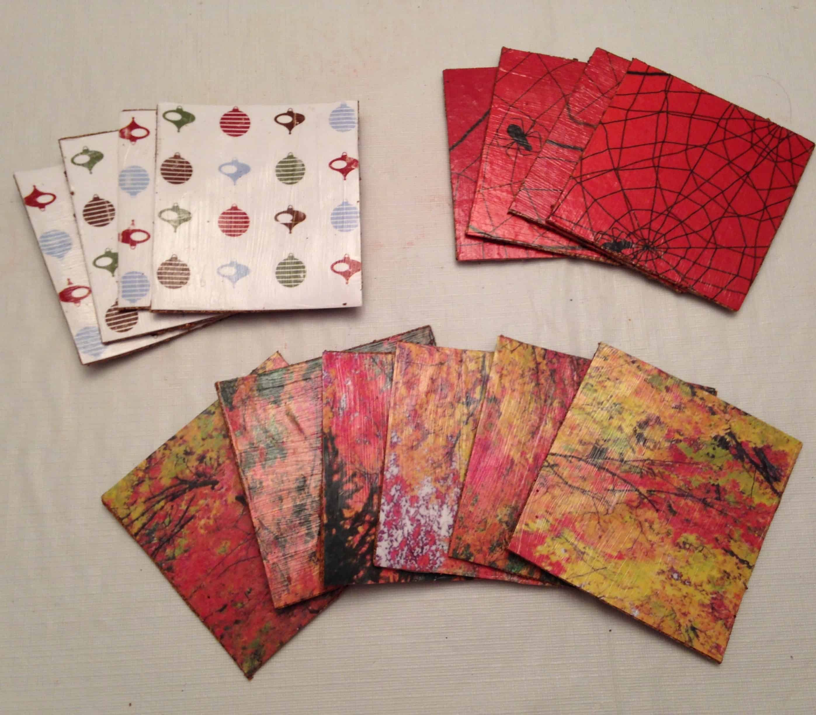 Wrapping paper decoupage coasters