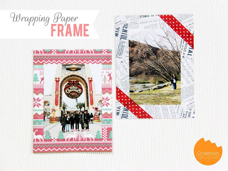 Wrapping paper deoupaged frame