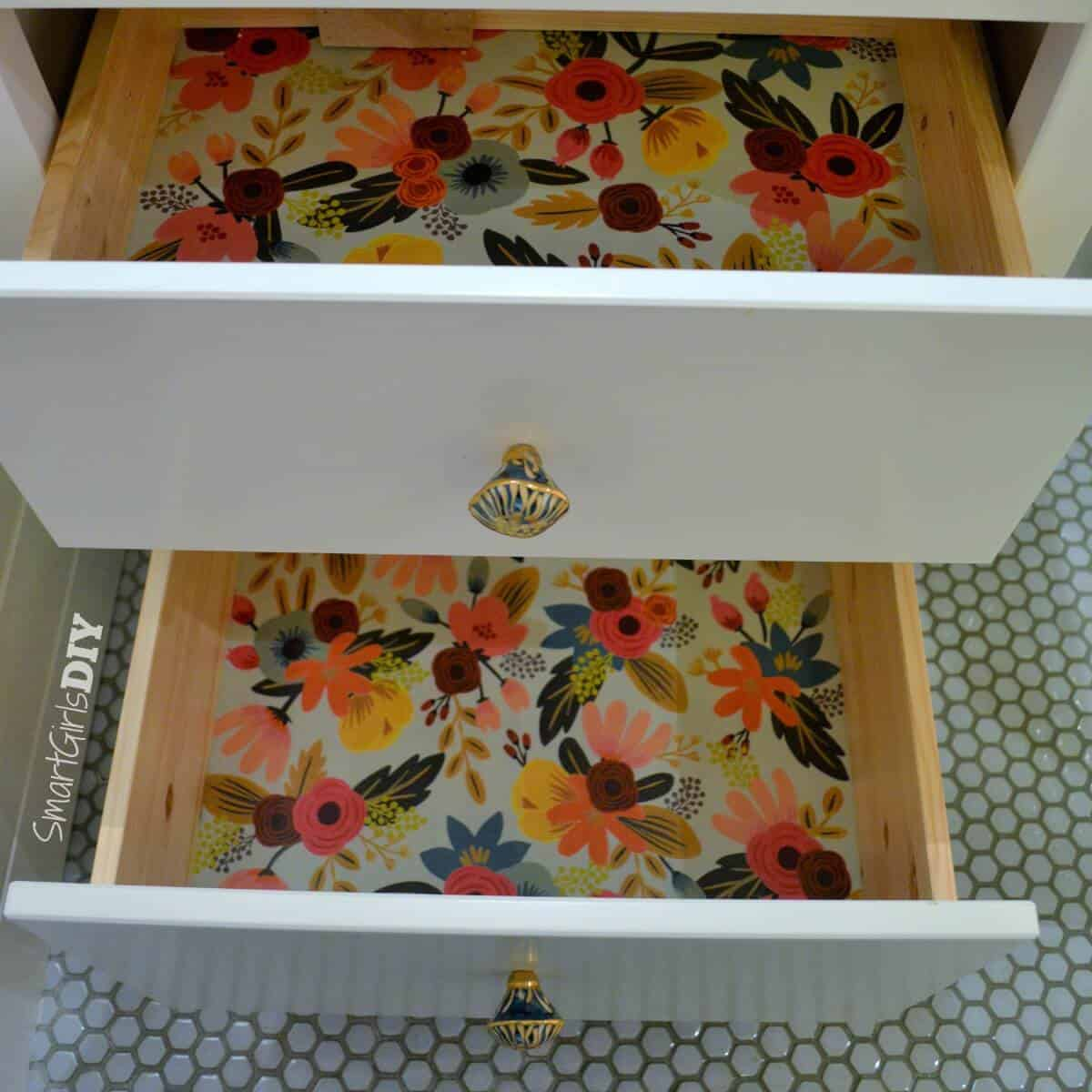 Wrapping paper lined drawers