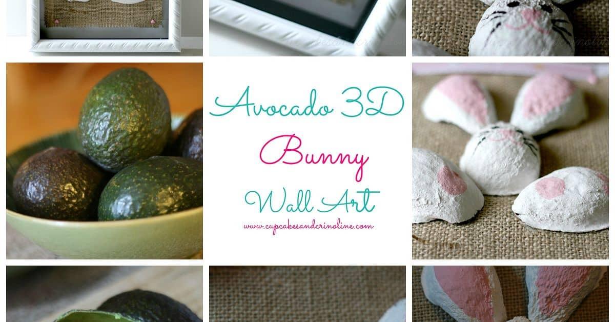 3D avocado bunny wall art