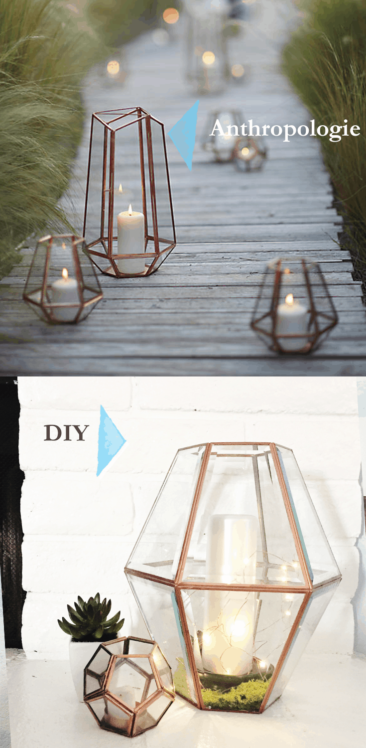 Anthropologie inspired rose gold glass and wire lantern
