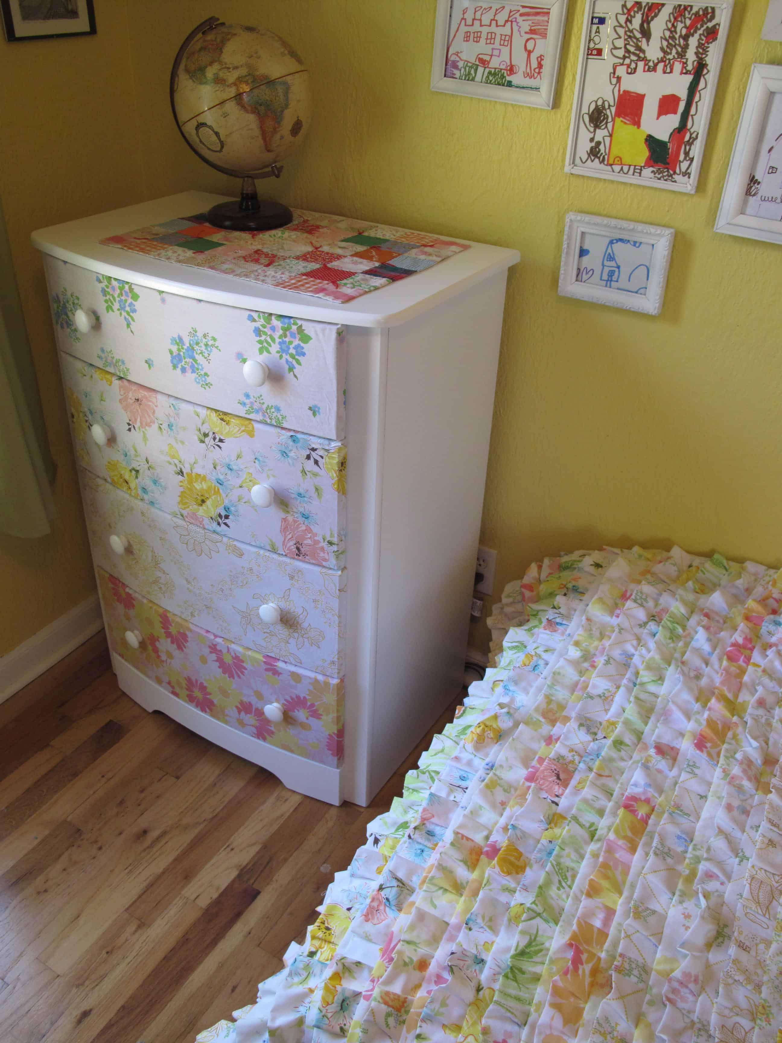 Bed sheet decoupaged dresser drawers