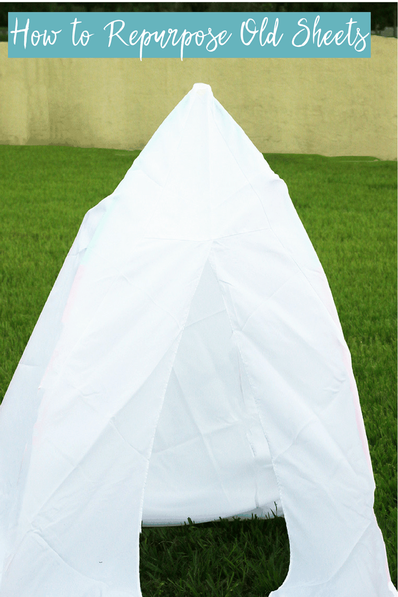 Bed sheets into a play tent