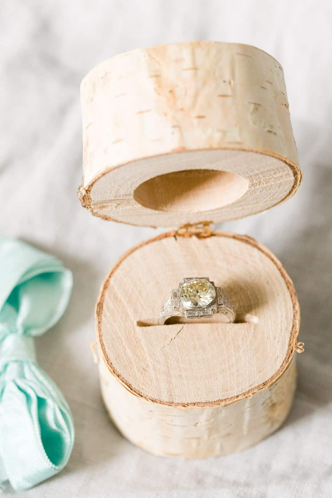 Birch log ring box