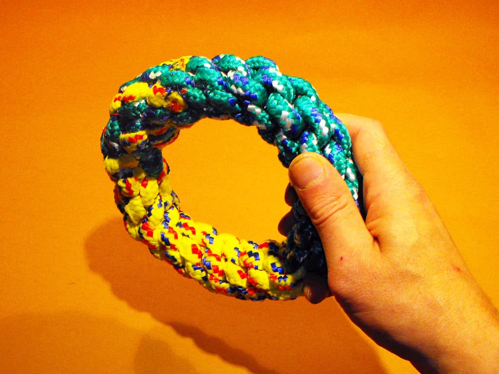 Braided rope ring dog toy