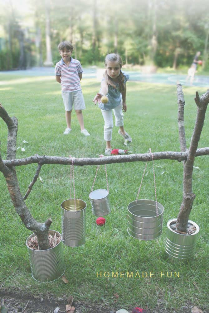 Can and branch ball toss game