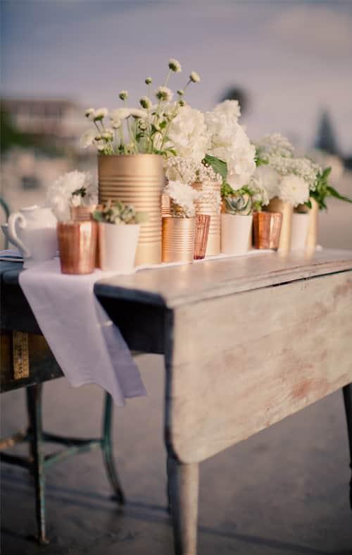 Copper painted floral centrepieces