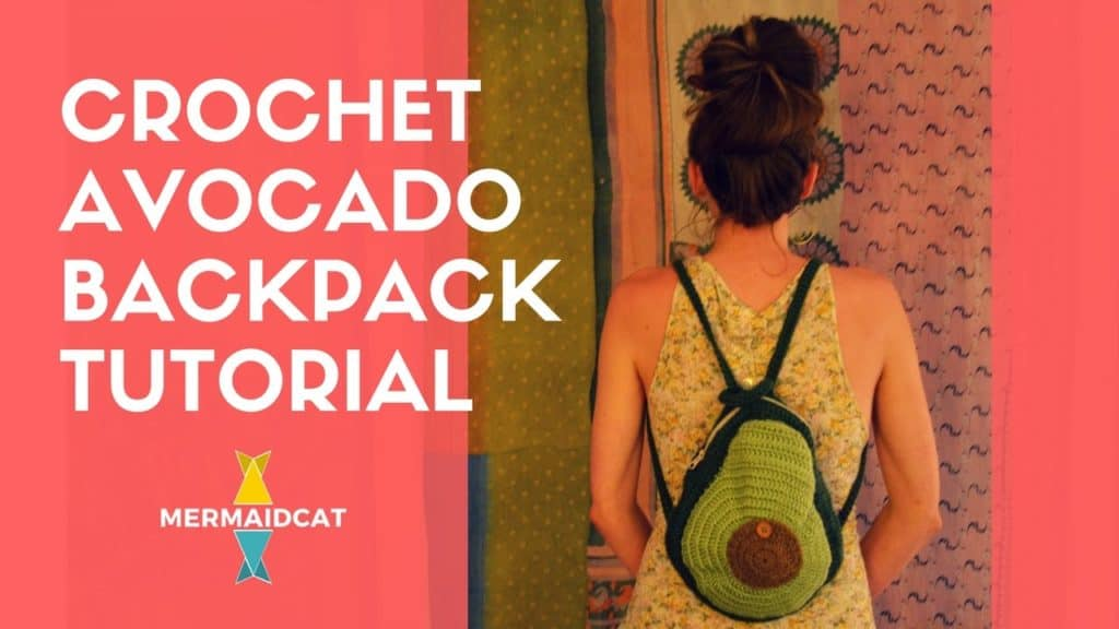 Crocheted avocado backpack