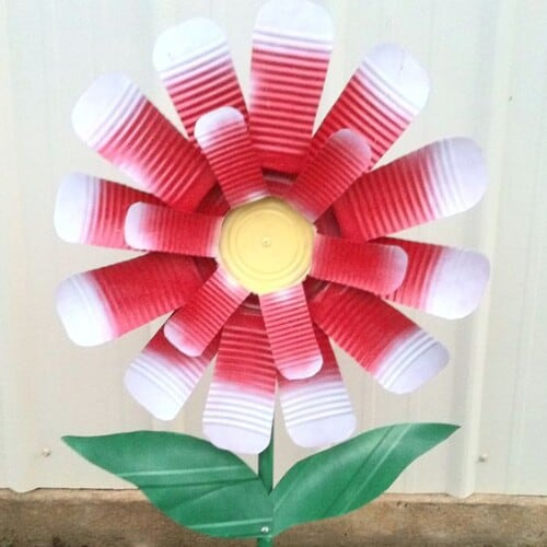 Cut and painted tin can flower