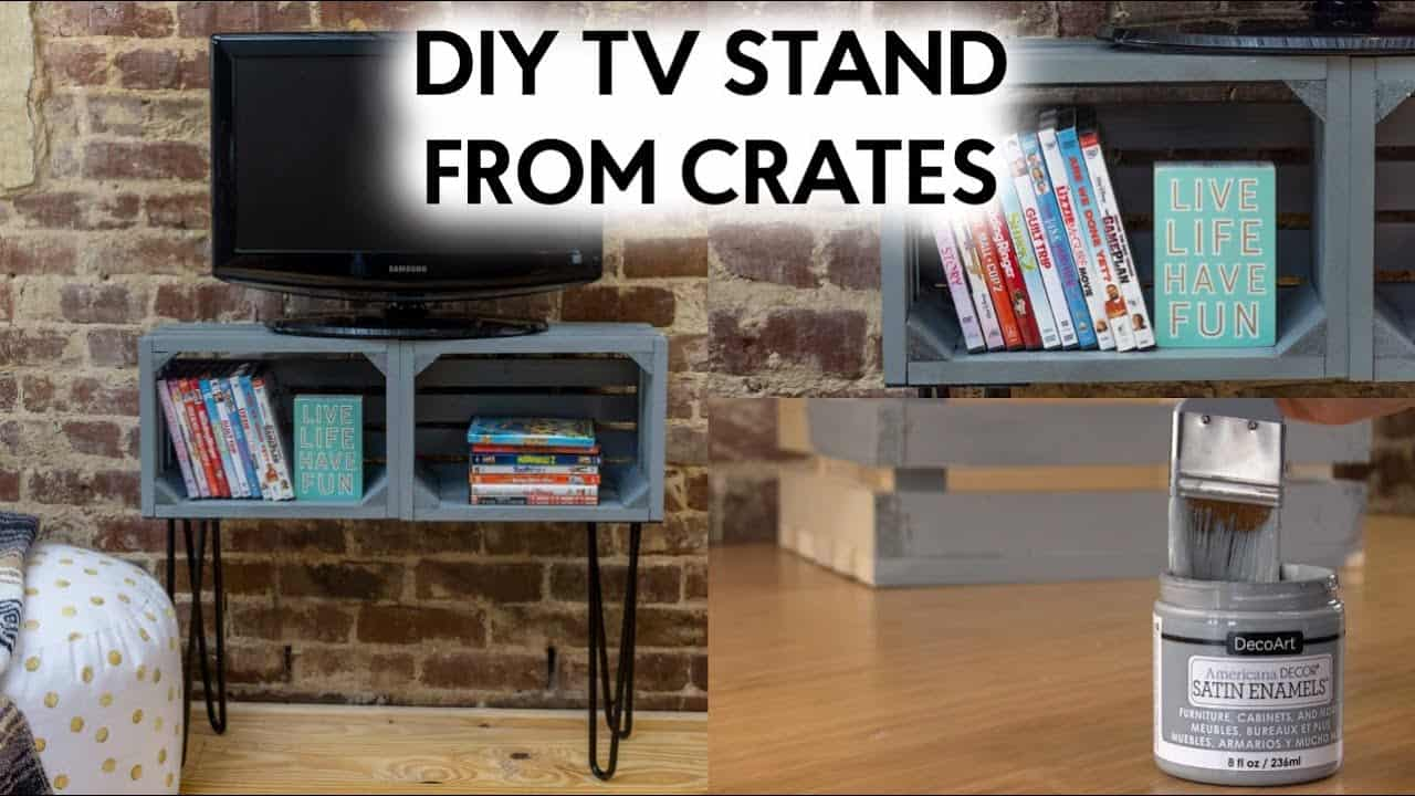 DIY TV stand from wooden crates