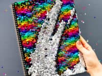 DIY colour changing sequin notebook 200x150 Sparkly Fashion that Makes a Statement: Trendy Crafts Made with Sequins