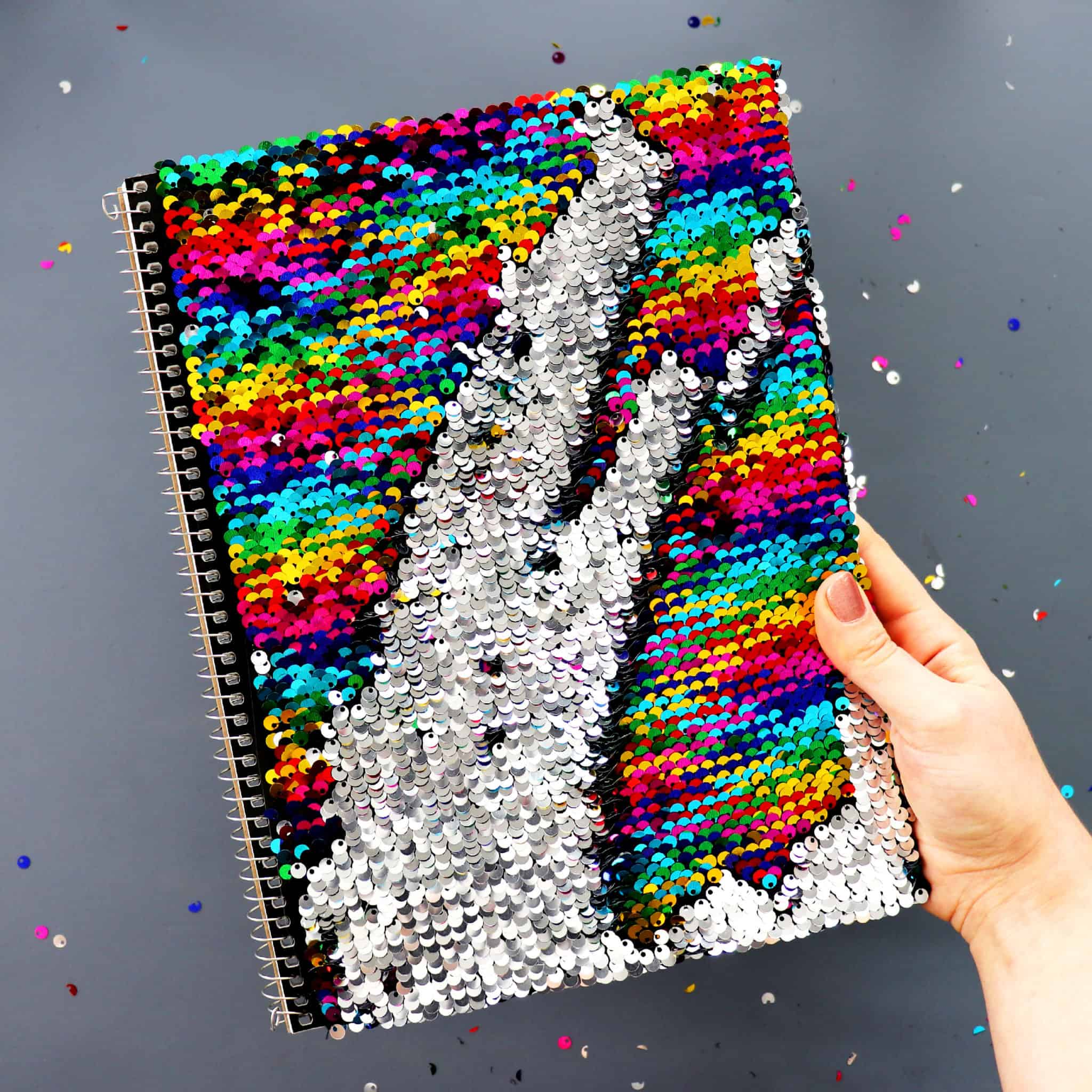 DIY colour changing sequin notebook