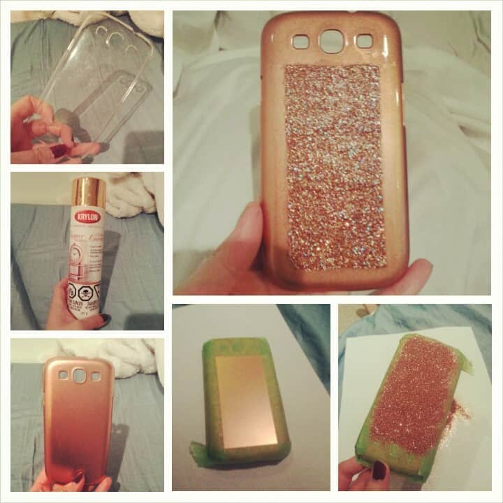 DIY glitter rose gold phone case