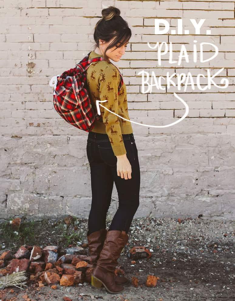 DIY plaid backpack