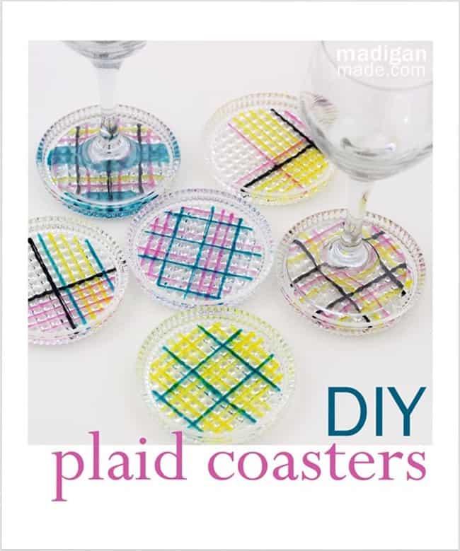 DIY plaid coasters