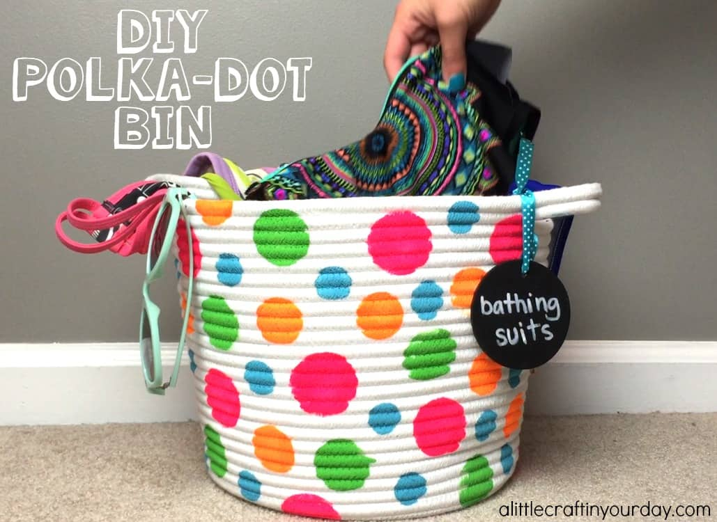 DIY polka dot storage bin