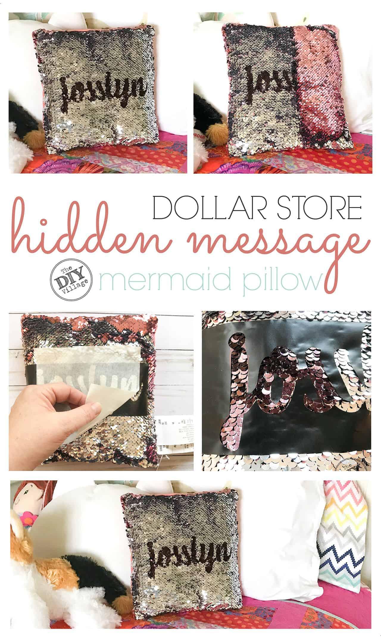 DIY reverse message sequin pillow