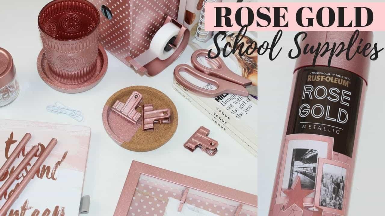 DIY rose gold school supplies