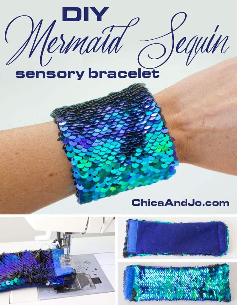 DIY sequinned mermaid sensory bracelet