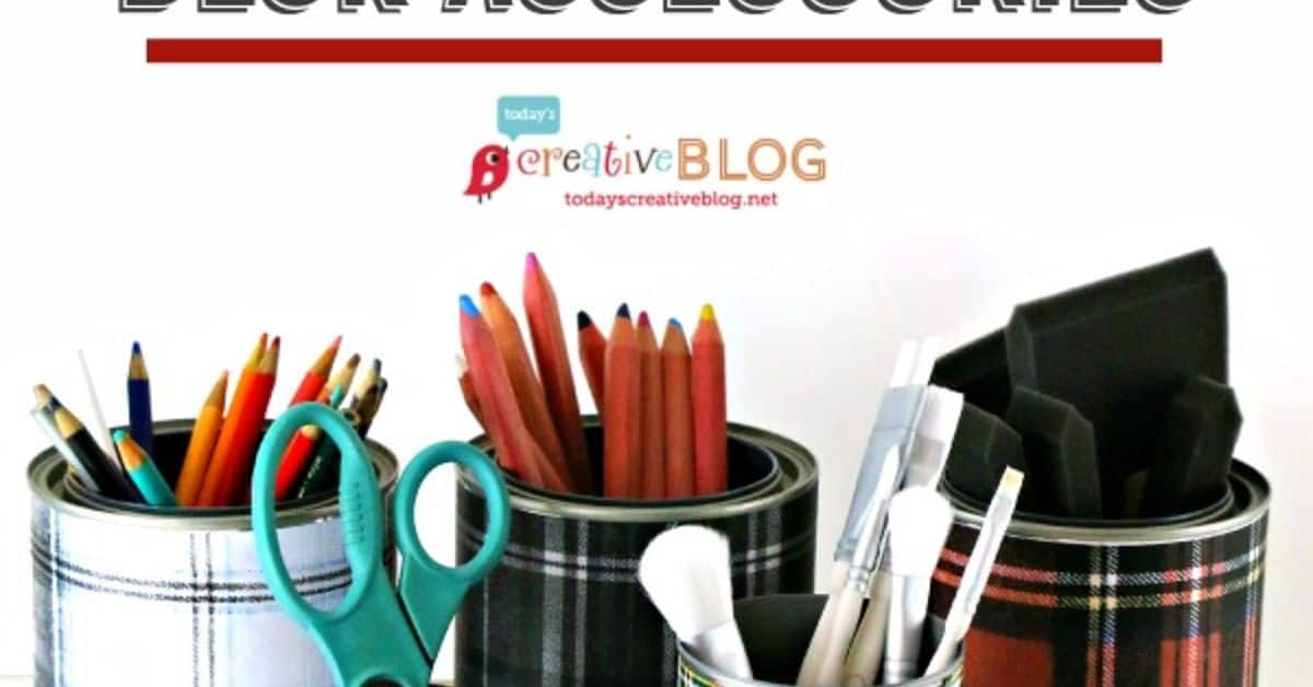 DIY tartan and plaid desk accessories