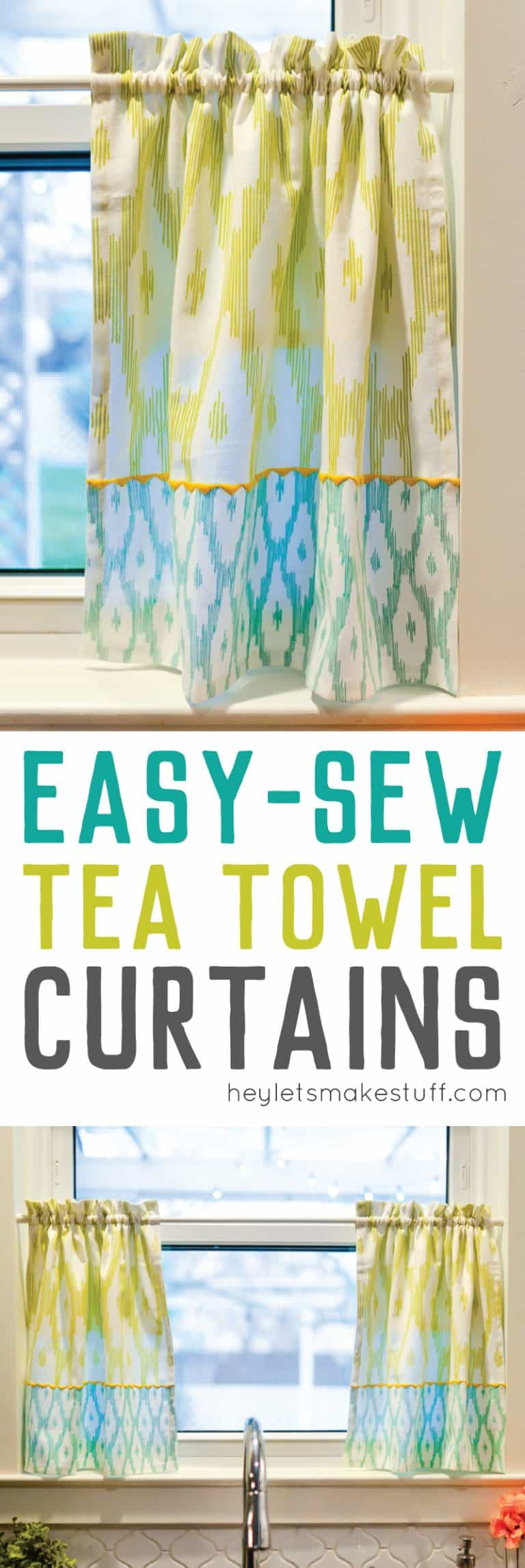 Easy to sew tea towel curtains